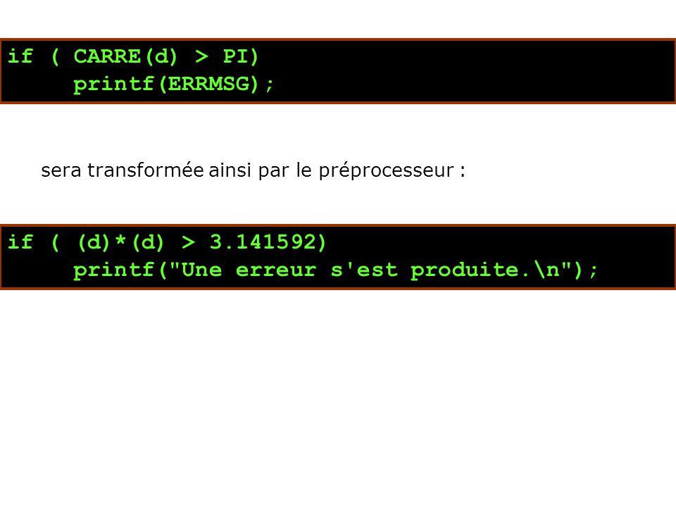 if ( CARRE(d) > PI) printf(ERRMSG); sera transformée ainsi par le préprocesseur : if ( (d)*(d) > 3.141592) printf( Une erreur s est produite.\n );