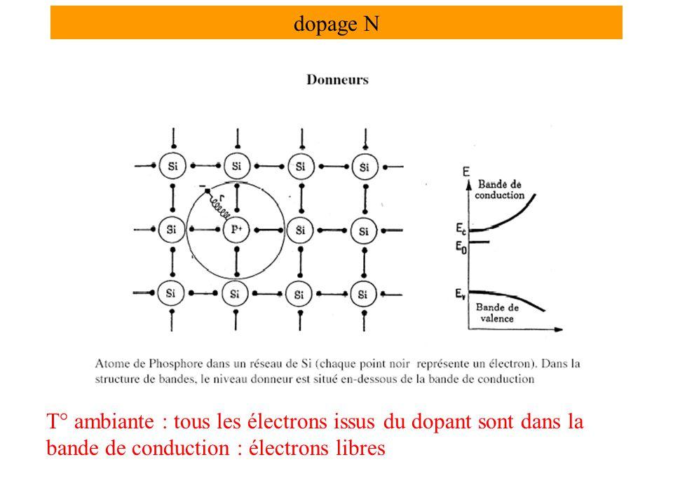 dopage N T° ambiante : tous les électrons issus du dopant sont dans la bande de conduction : électrons libres