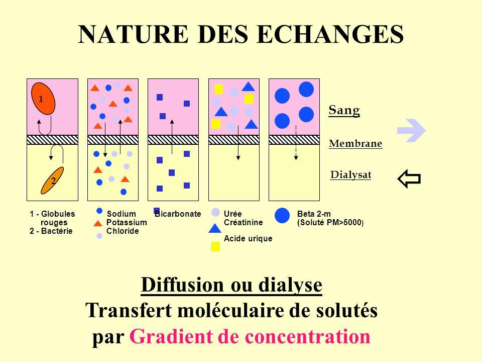 NATURE DES ECHANGES Diffusion ou dialyse Transfert moléculaire de solutés par Gradient de concentration   1 2 1 - Globules rouges 2 - Bactérie Sodiu