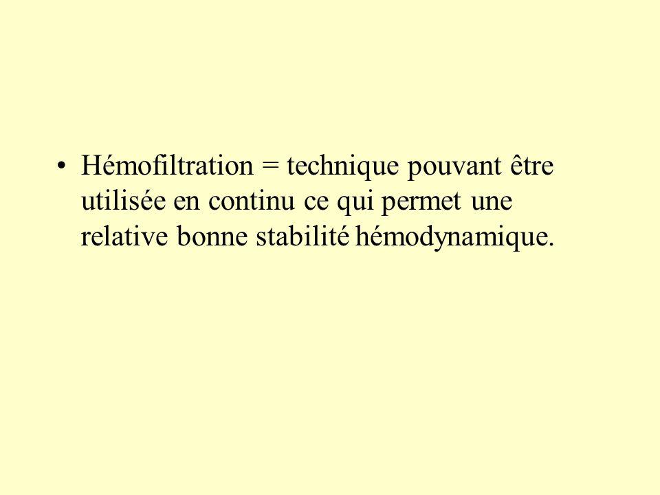 Hémofiltration = technique pouvant être utilisée en continu ce qui permet une relative bonne stabilité hémodynamique.