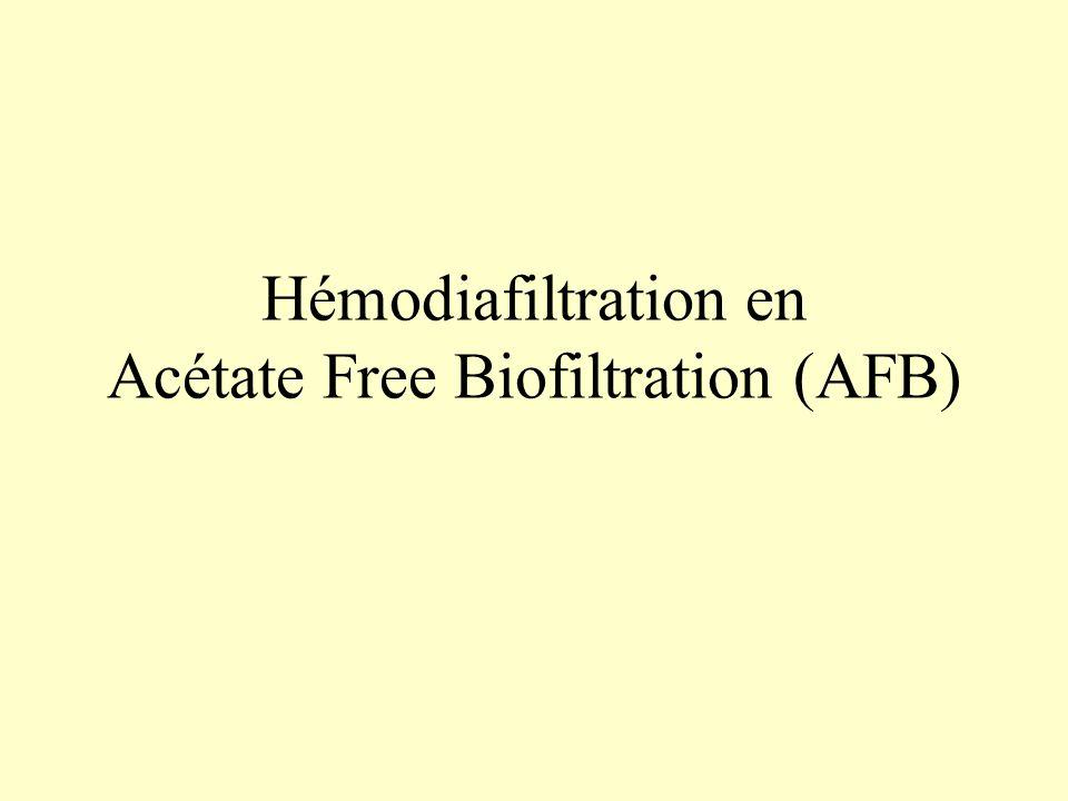 Hémodiafiltration en Acétate Free Biofiltration (AFB)