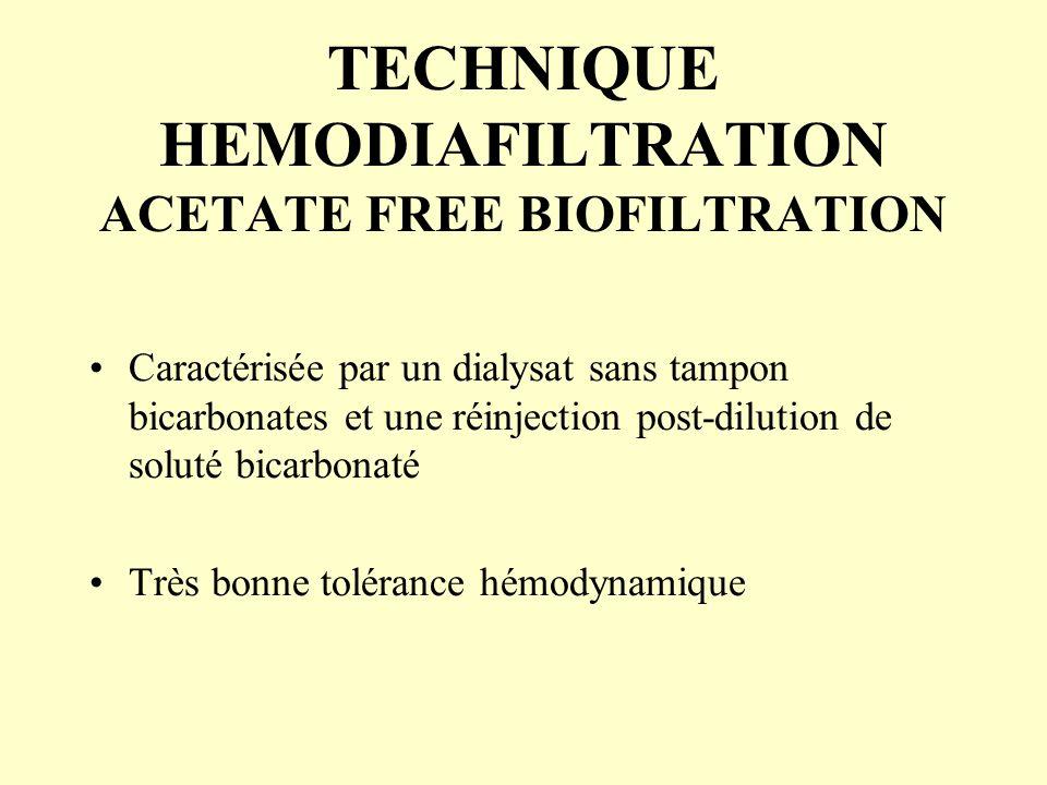 TECHNIQUE HEMODIAFILTRATION ACETATE FREE BIOFILTRATION Caractérisée par un dialysat sans tampon bicarbonates et une réinjection post-dilution de solut