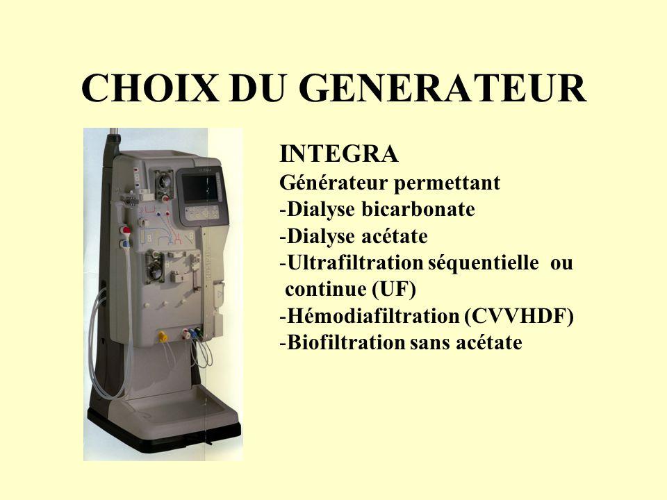 CHOIX DU GENERATEUR INTEGRA Générateur permettant -Dialyse bicarbonate -Dialyse acétate -Ultrafiltration séquentielle ou continue (UF) -Hémodiafiltrat