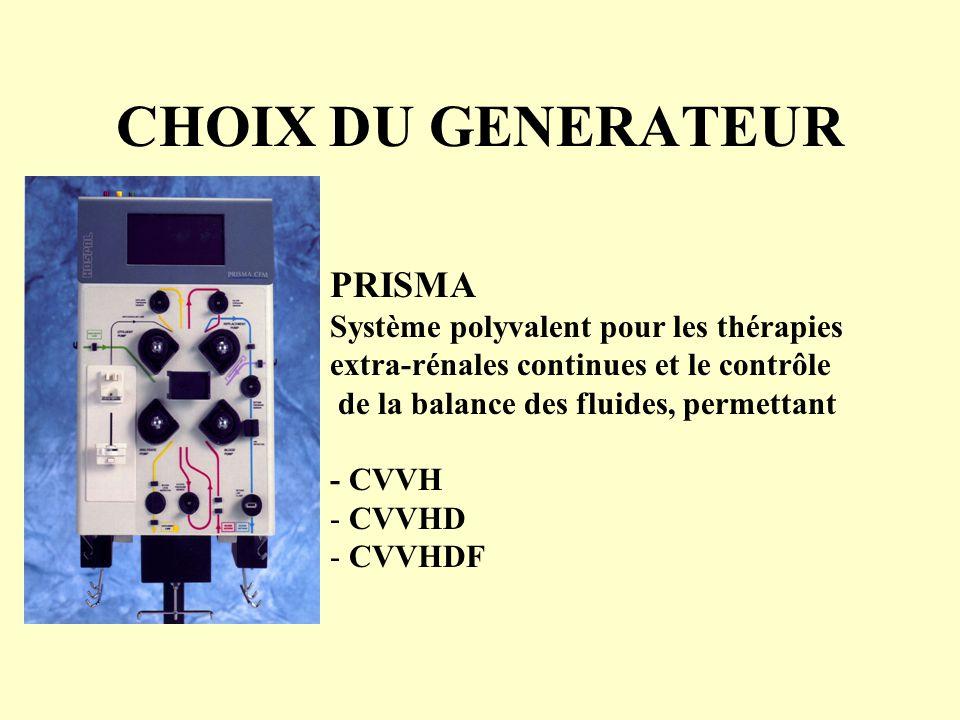 CHOIX DU GENERATEUR PRISMA Système polyvalent pour les thérapies extra-rénales continues et le contrôle de la balance des fluides, permettant - CVVH -