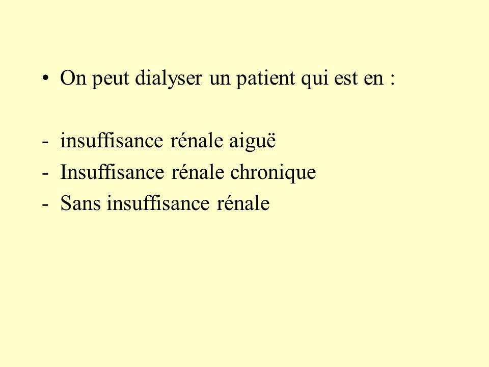 On peut dialyser un patient qui est en : -insuffisance rénale aiguë -Insuffisance rénale chronique -Sans insuffisance rénale