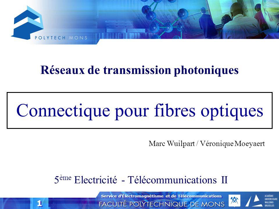 Service d'Électromagnétisme et de Télécommunications 1 1 Connectique pour fibres optiques 5 ème Electricité - Télécommunications II Marc Wuilpart / Vé