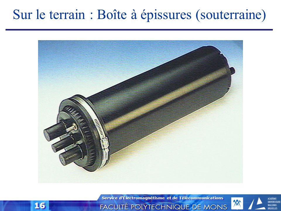 Service d'Électromagnétisme et de Télécommunications 16 Sur le terrain : Boîte à épissures (souterraine)