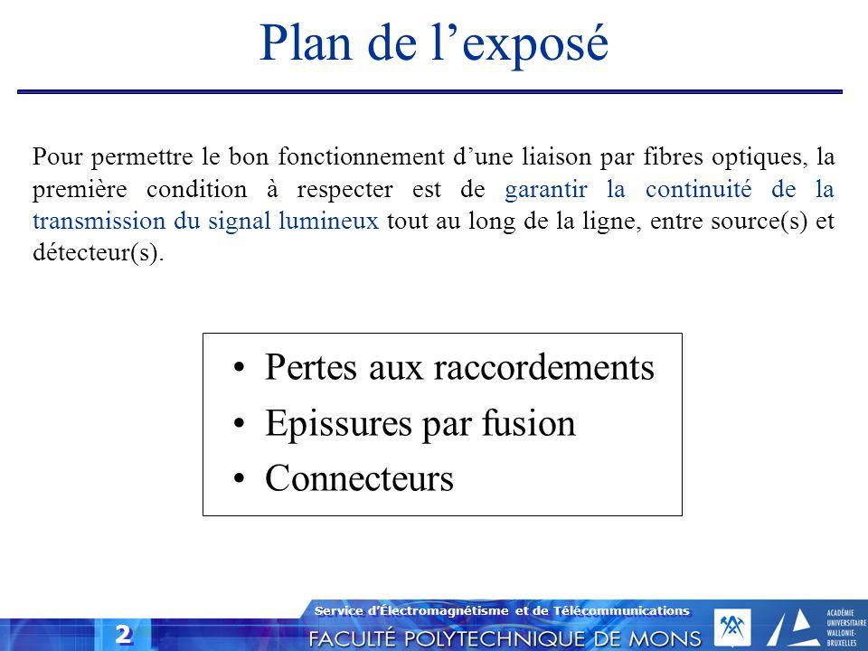 Service d'Électromagnétisme et de Télécommunications 2 Plan de l'exposé Pertes aux raccordements Epissures par fusion Connecteurs Pour permettre le bo
