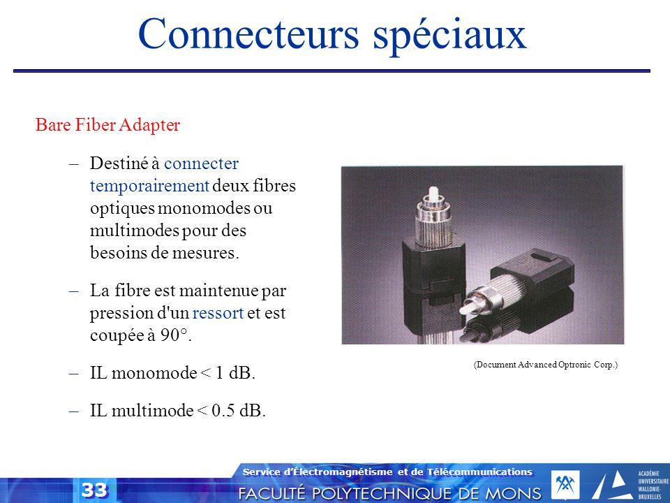 Service d'Électromagnétisme et de Télécommunications 33 Connecteurs spéciaux Bare Fiber Adapter –Destiné à connecter temporairement deux fibres optiqu