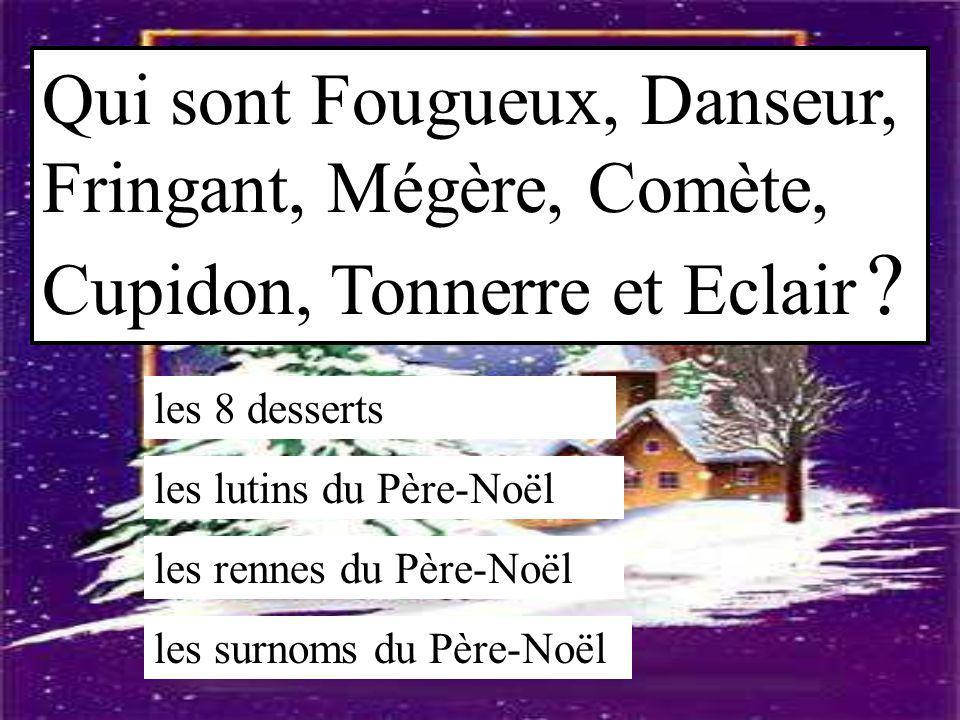 Qui sont Fougueux, Danseur, Fringant, Mégère, Comète, Cupidon, Tonnerre et Eclair ? les 8 desserts les lutins du Père-Noël les rennes du Père-Noël les