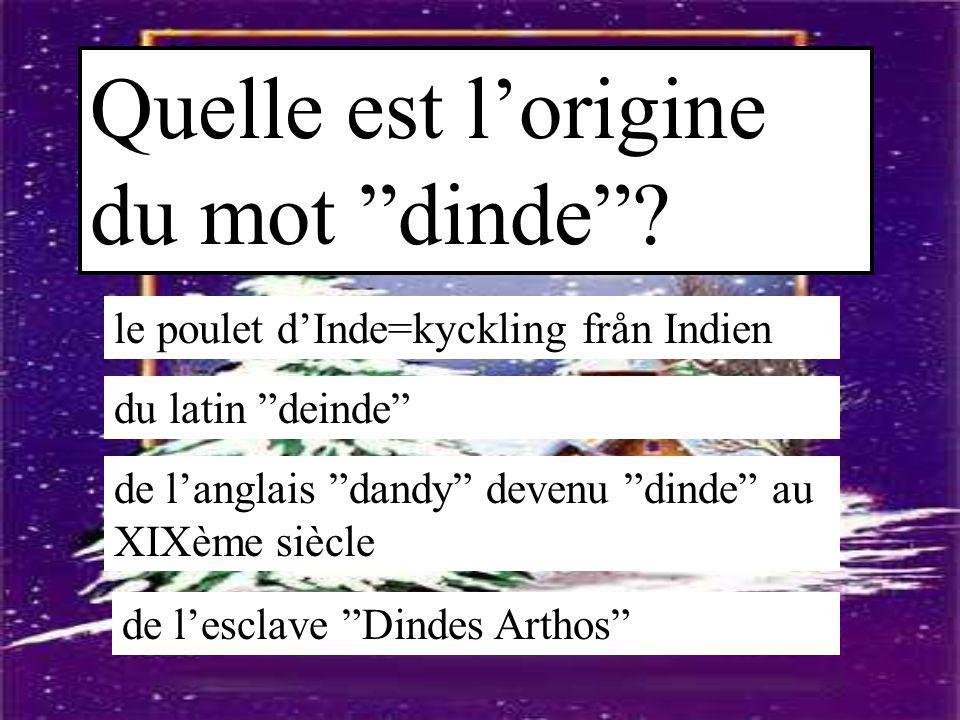 """Quelle est l'origine du mot """"dinde""""? le poulet d'Inde=kyckling från Indien du latin """"deinde"""" de l'anglais """"dandy"""" devenu """"dinde"""" au XIXème siècle de l"""