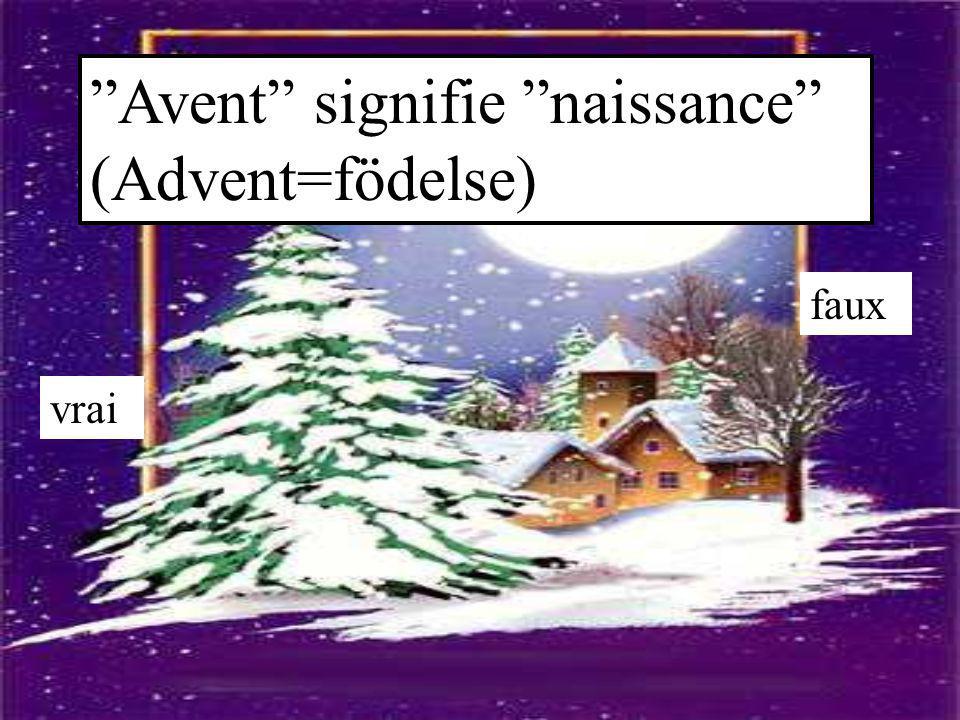"""""""Avent"""" signifie """"naissance"""" (Advent=födelse) vrai faux"""
