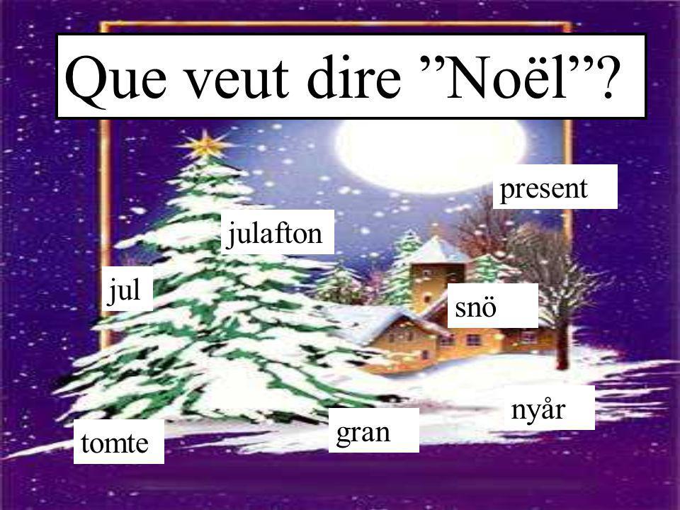 """Que veut dire """"Noël""""? jul julafton gran present nyår tomte snö"""