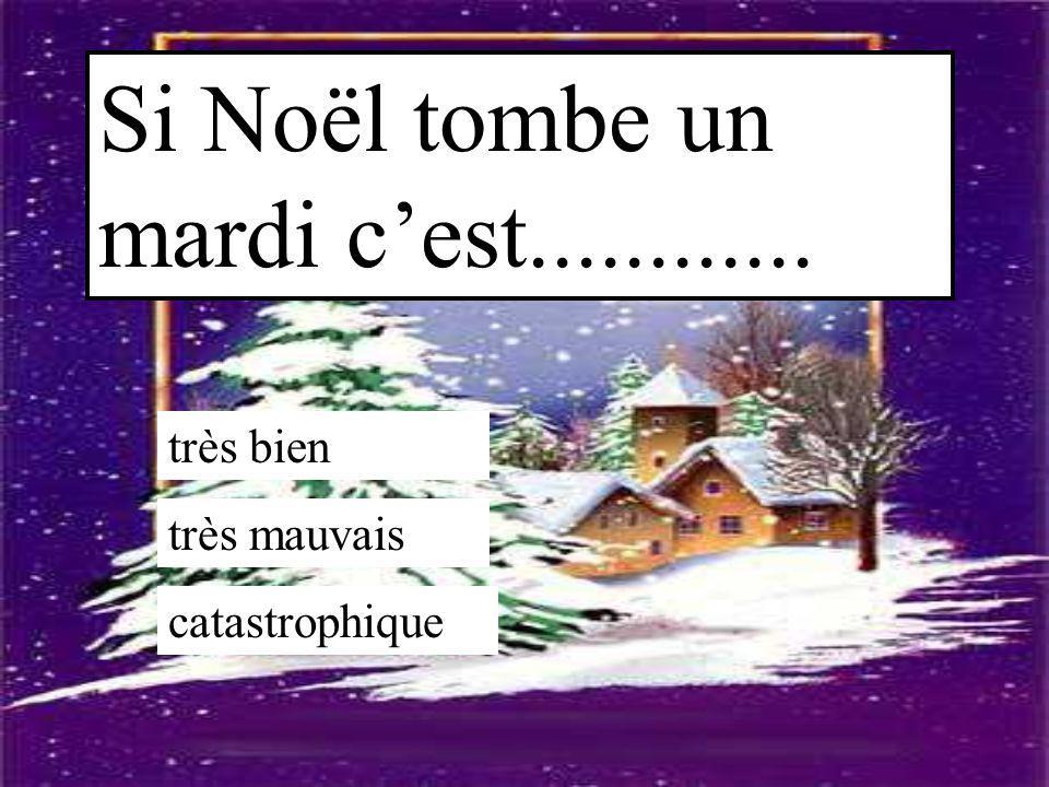 Si Noël tombe un mardi c'est............ très bien très mauvais catastrophique