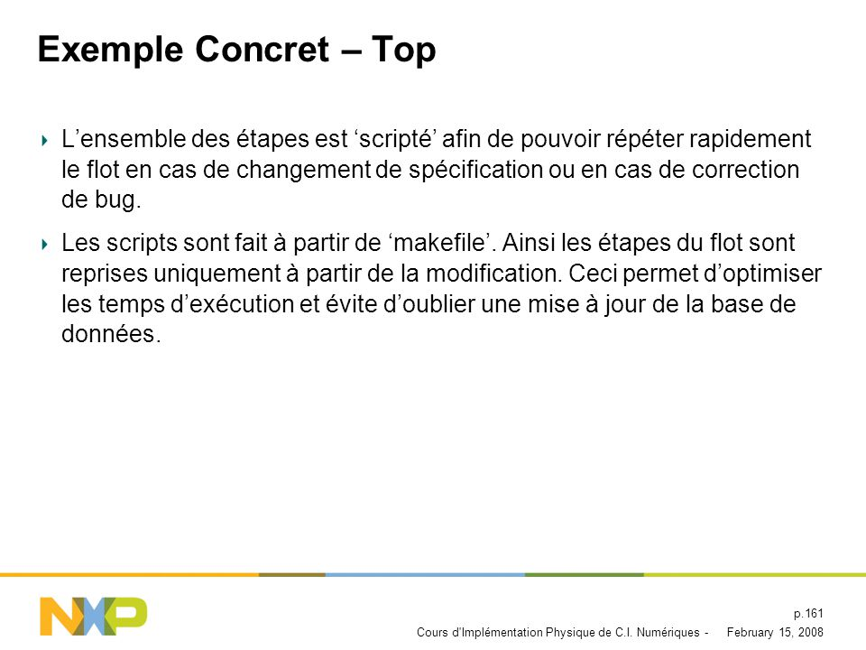 February 15, 2008Cours d'Implémentation Physique de C.I. Numériques - p.160 Exemple Concret – Top Package PinningPad Ring Floorplanning Routing Parasi