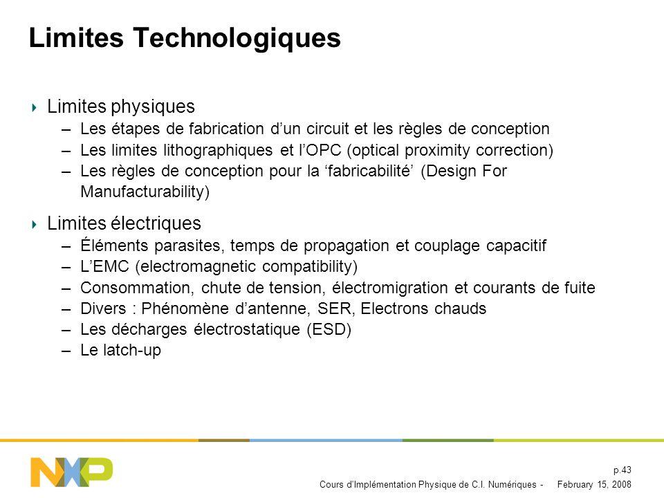 February 15, 2008Cours d Implémentation Physique de C.I. Numériques - p.42 Limites Technologiques