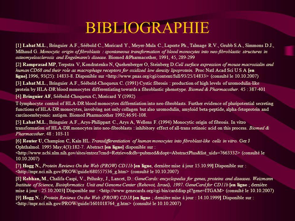 BIBLIOGRAPHIE [10] Labat M.L., Bringuier A.F., Séébold-Choqueux C., Moricard Y., Meyer-Mula C., Delepine N., Delepine G., Desbois J.C., Strauss P.
