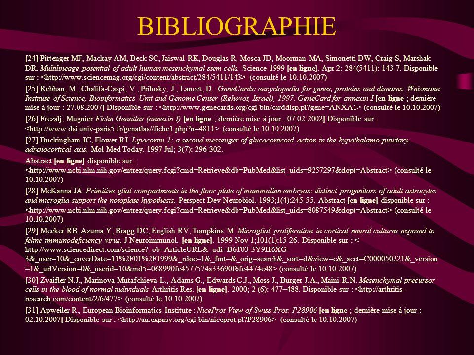 BIBLIOGRAPHIE [32] Rebhan, M., Chalifa-Caspi, V., Prilusky, J., Lancet, D.: GeneCards: encyclopedia for genes, proteins and diseases.