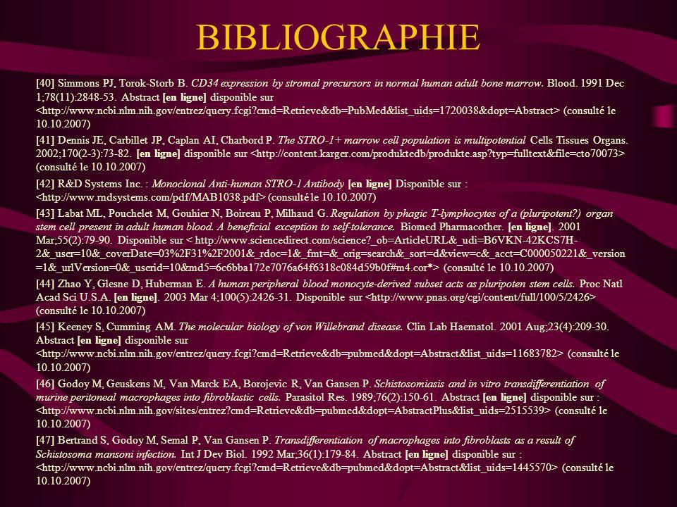 BIBLIOGRAPHIE [48] Rebhan, M., Chalifa-Caspi, V., Prilusky, J., Lancet, D.: GeneCards: encyclopedia for genes, proteins and diseases.