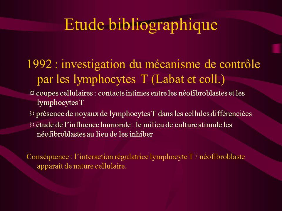 Etude bibliographique 1994 : un cas de greffe cardiaque corrobore les hypothèses de régulation par les lymphocytes T (Labat et coll.) ¤ traitement immunosuppresseur par la ciclosporine ¤ lymphocytes T inhibés ¤ prolifération de néofibroblastes non-régulés ¤ d'où explication de la fibrose pulmonaire rencontrée chez le patient
