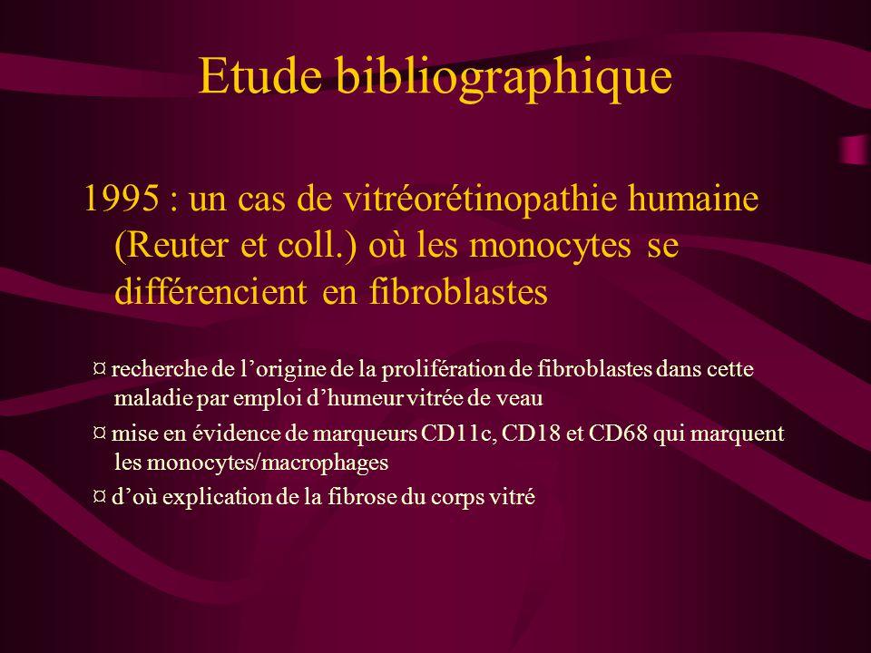 Etude bibliographique 1997 : un cas de chondrosarcome (Labat et coll.) où les monocytes se différencient en fibroblastes et en cellules ressemblant à des chondrocytes ¤ mise en évidence de marqueurs HLA-DR, CD14 (monocytes/macrophages) mais aussi prolyl-4-hydroxylase et collagène I, II et III (fibroblastes) ainsi qu'une activité phosphatase alcaline (ostéoblastes et chondrocytes avant minéralisation) ¤ hypothèse d'une déficience in vivo des lymphocytes T (rétrovirus) qui explique la prolifération des néofibroblastes qui prennent une apparence de chondrocytes et forment des nodules.