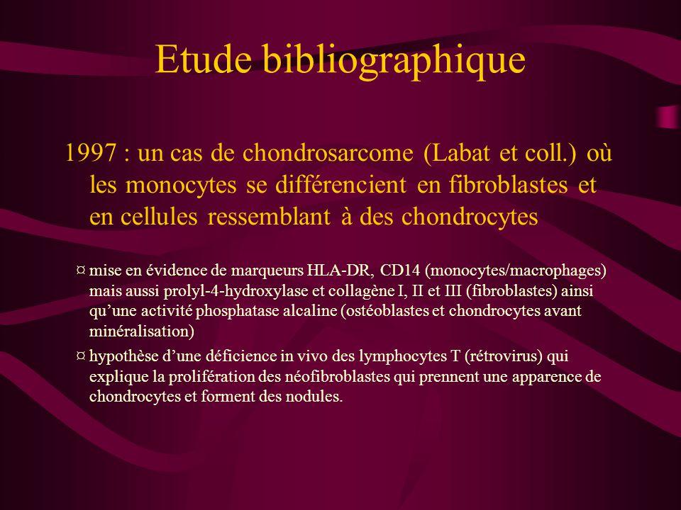 Etude bibliographique 2000 : mise en évidence du polymorphisme des néofibroblastes révélant des marqueurs d'origine neurale par immunofluorescence (Labat et coll.) ¤ à partir de cellules sanguines de donneurs en bonne santé, sans facteurs de croissance ¤ polymorphisme : aspect fibroblastique, cellule radiée, forme amiboïde, cellule en tige, forme avec de longs filopodes.