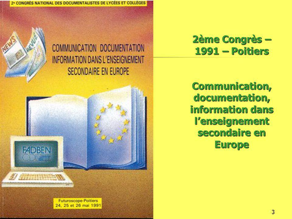 16/12/20144 3ème Congrès - 1993 - Marseille Information et pratiques d'information : Quelle recherche ?