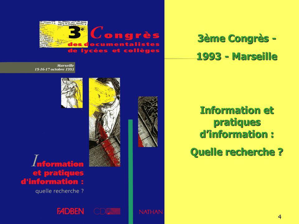 16/12/20144 3ème Congrès - 1993 - Marseille Information et pratiques d'information : Quelle recherche
