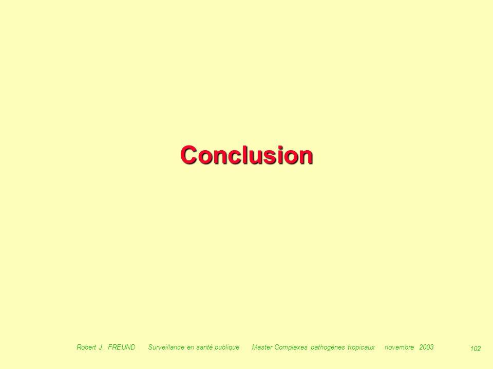 101 Robert J. FREUND Surveillance en santé publique Master Complexes pathogènes tropicaux novembre 2003 SIEL, quels outils à l 'avenir ? Période inter