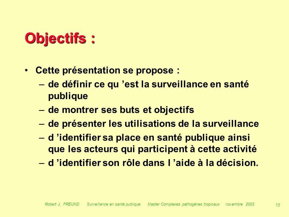 12 Robert J. FREUND Surveillance en santé publique Master Complexes pathogènes tropicaux novembre 2003 Introduction