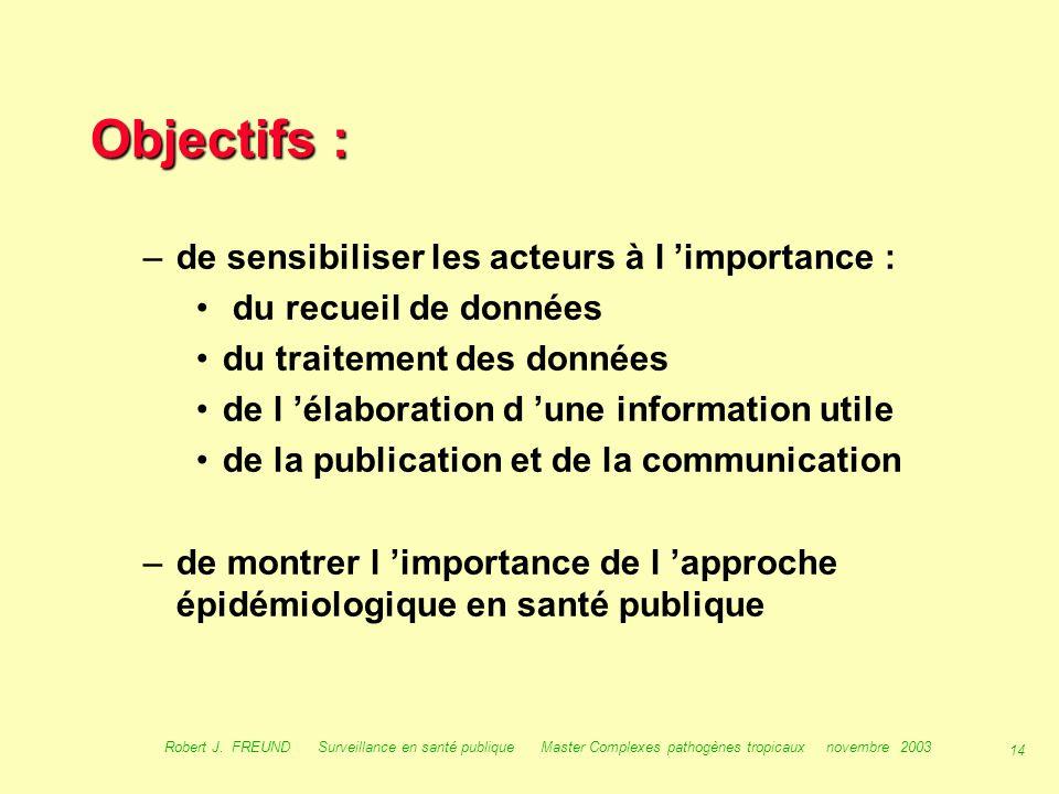 13 Robert J. FREUND Surveillance en santé publique Master Complexes pathogènes tropicaux novembre 2003 Objectifs : Cette présentation se propose : –de