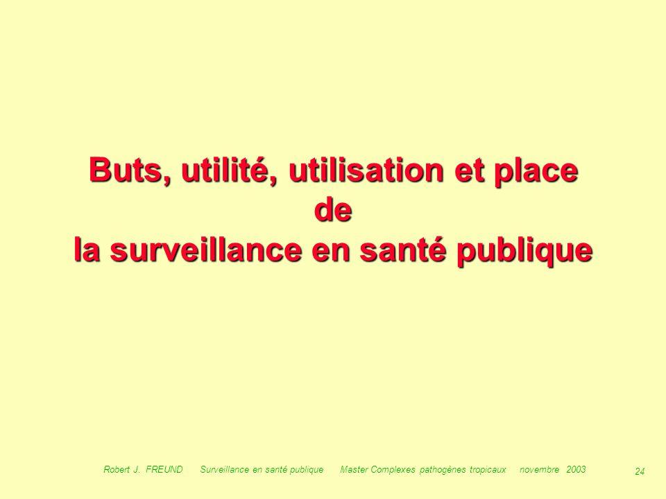 23 Robert J. FREUND Surveillance en santé publique Master Complexes pathogènes tropicaux novembre 2003 Les définitions de la surveillance : Définition