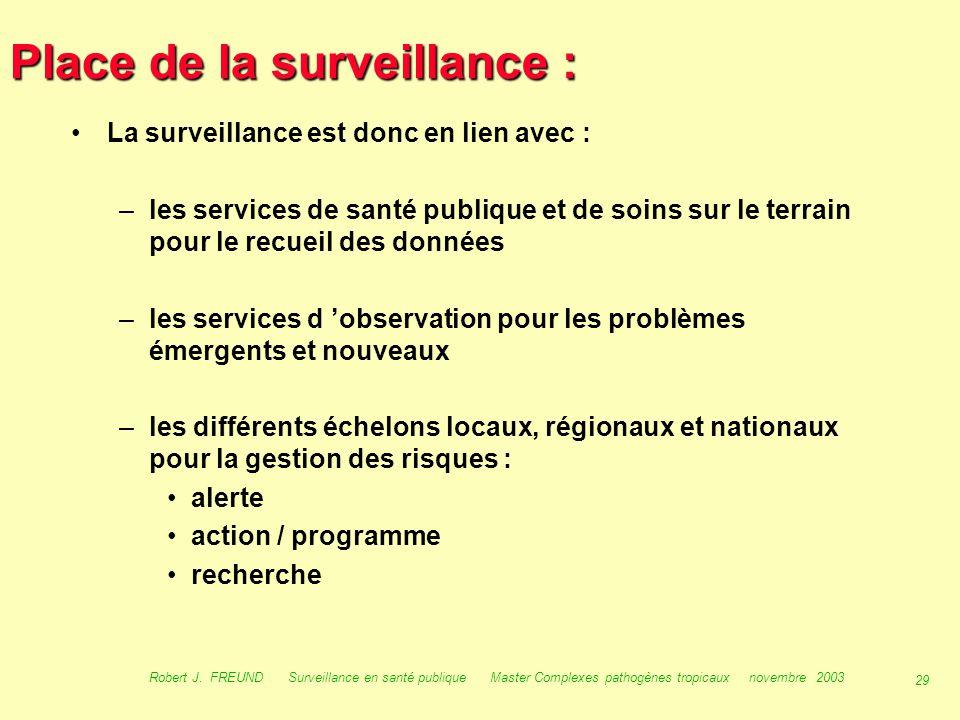 28 Robert J. FREUND Surveillance en santé publique Master Complexes pathogènes tropicaux novembre 2003 Utilisation de la surveillance : Réseau de surv