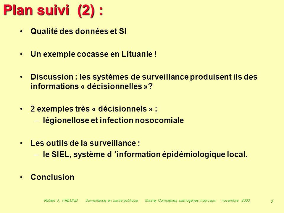 2 Robert J. FREUND Surveillance en santé publique Master Complexes pathogènes tropicaux novembre 2003 Plan suivi (1) : Contexte historique et Introduc