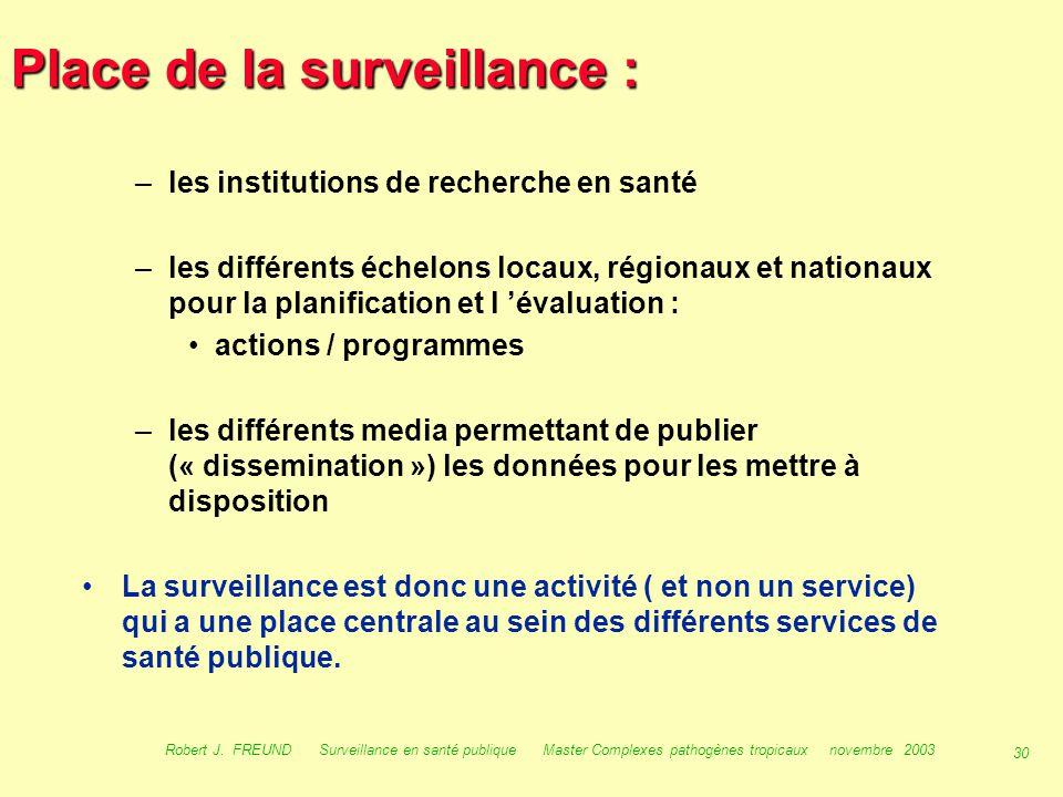 29 Robert J. FREUND Surveillance en santé publique Master Complexes pathogènes tropicaux novembre 2003 Place de la surveillance : La surveillance est