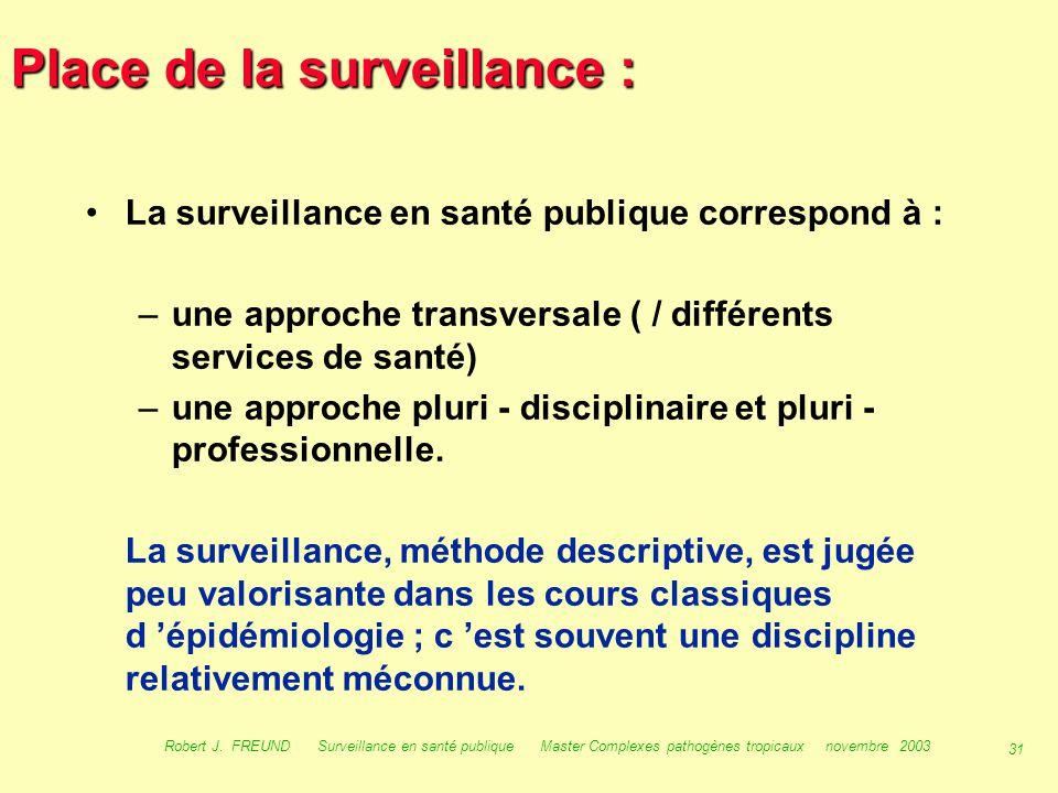 30 Robert J. FREUND Surveillance en santé publique Master Complexes pathogènes tropicaux novembre 2003 Place de la surveillance : –les institutions de