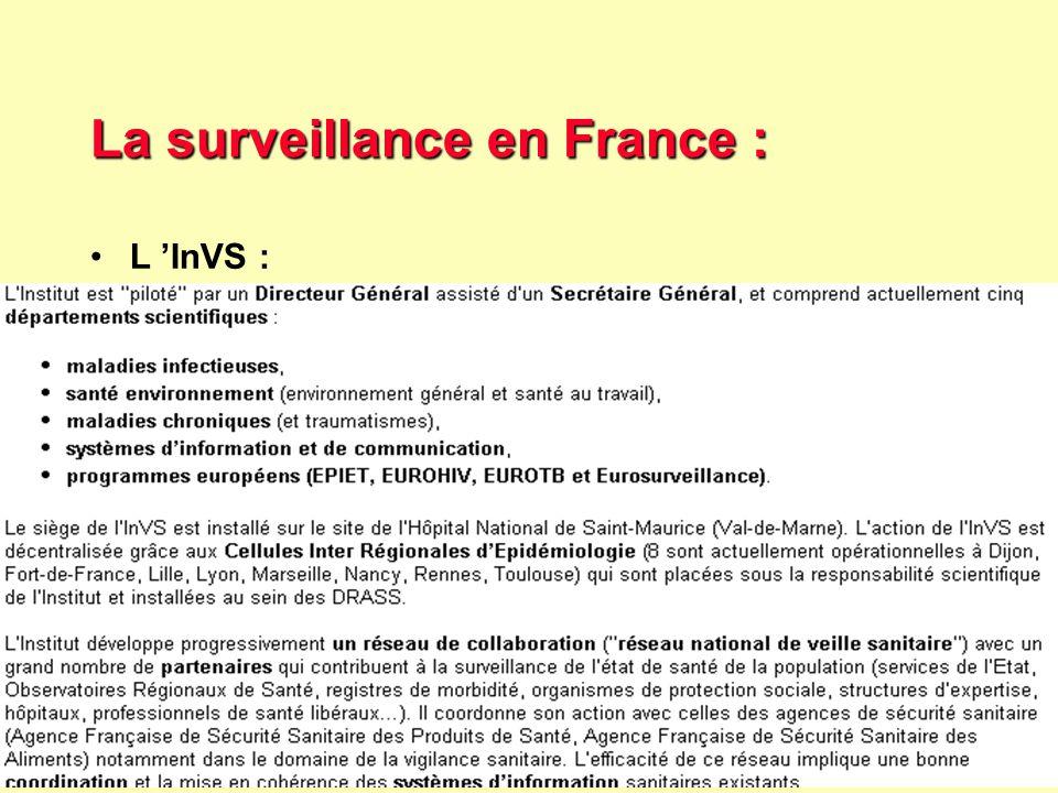 34 Robert J. FREUND Surveillance en santé publique Master Complexes pathogènes tropicaux novembre 2003 La surveillance en France : L 'InVS :