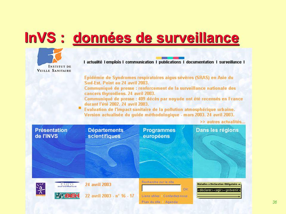 35 Robert J. FREUND Surveillance en santé publique Master Complexes pathogènes tropicaux novembre 2003 La surveillance en France : L 'InVS :