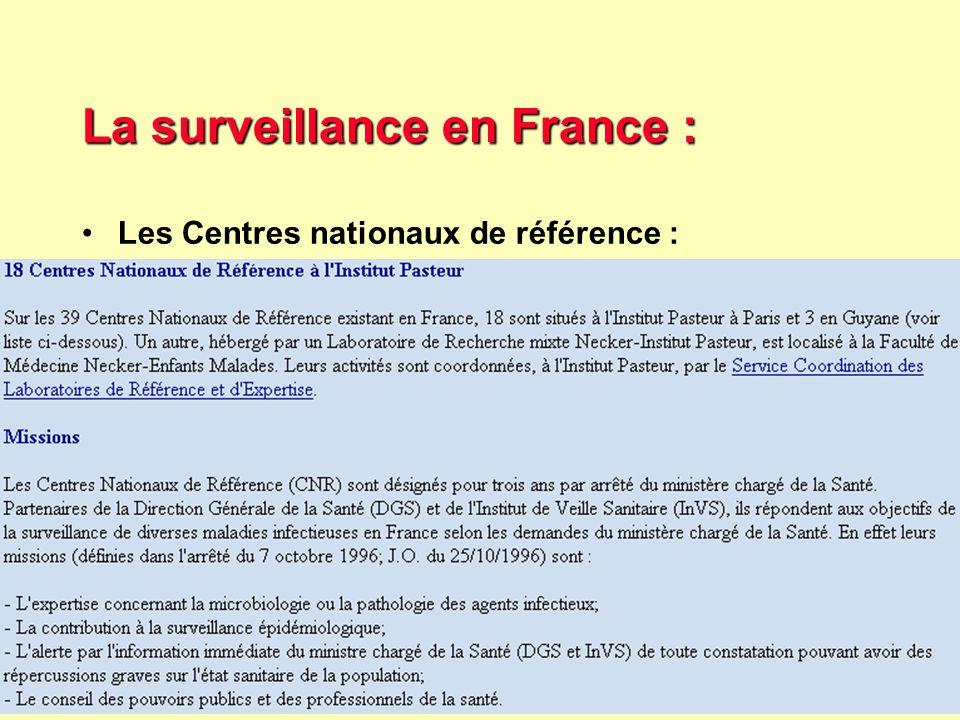 36 Robert J. FREUND Surveillance en santé publique Master Complexes pathogènes tropicaux novembre 2003 InVS : données de surveillance données de surve