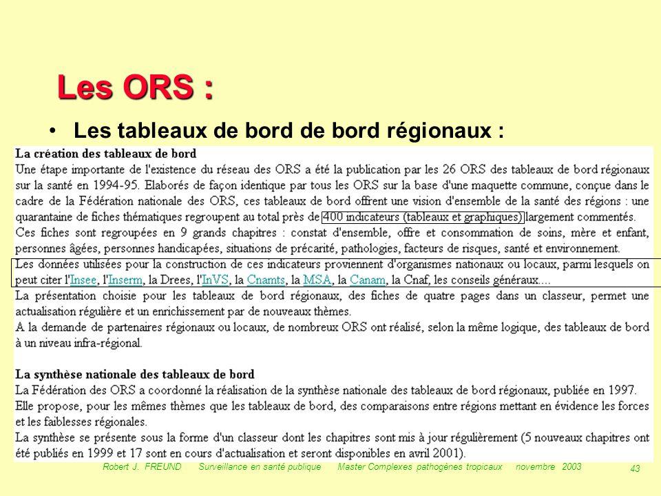 42 Robert J. FREUND Surveillance en santé publique Master Complexes pathogènes tropicaux novembre 2003 Les ORS : fnors fnors But :