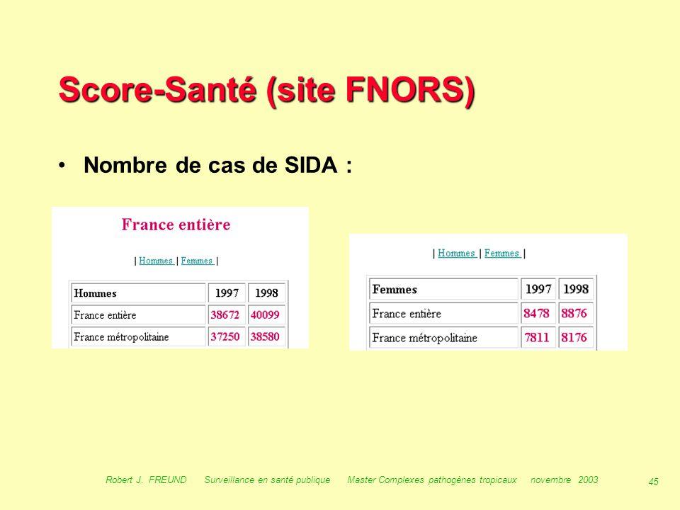 44 Robert J. FREUND Surveillance en santé publique Master Complexes pathogènes tropicaux novembre 2003 Les ORS : score détail score détailscore détail
