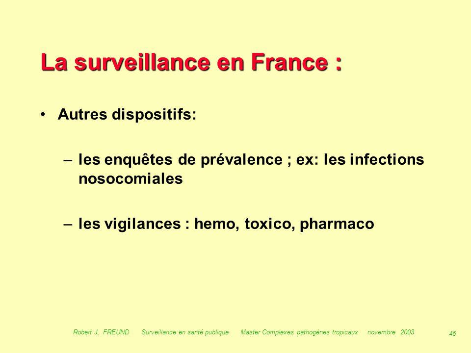 45 Robert J. FREUND Surveillance en santé publique Master Complexes pathogènes tropicaux novembre 2003 Score-Santé (site FNORS) Nombre de cas de SIDA