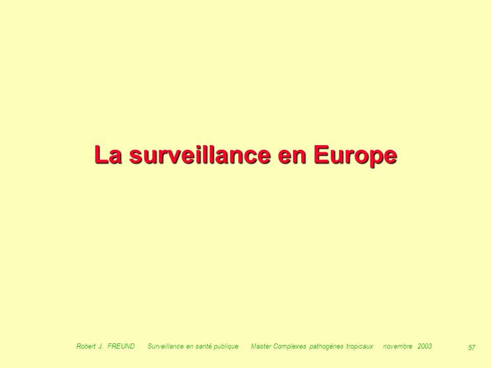 56 Robert J. FREUND Surveillance en santé publique Master Complexes pathogènes tropicaux novembre 2003