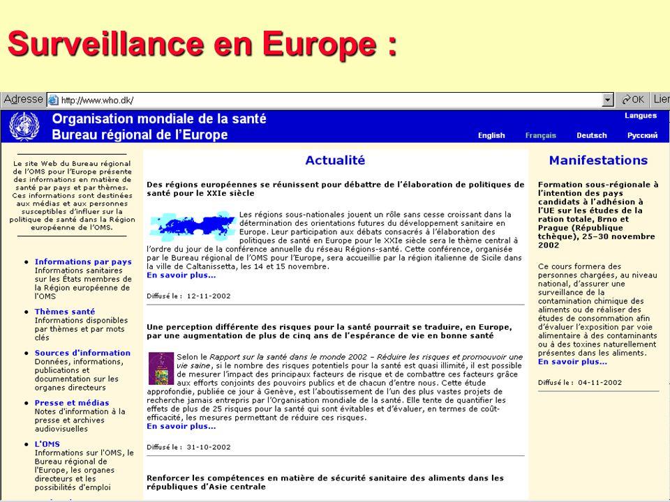 57 Robert J. FREUND Surveillance en santé publique Master Complexes pathogènes tropicaux novembre 2003 La surveillance en Europe