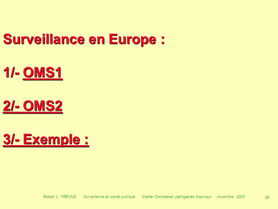 58 Robert J. FREUND Surveillance en santé publique Master Complexes pathogènes tropicaux novembre 2003 Surveillance en Europe :