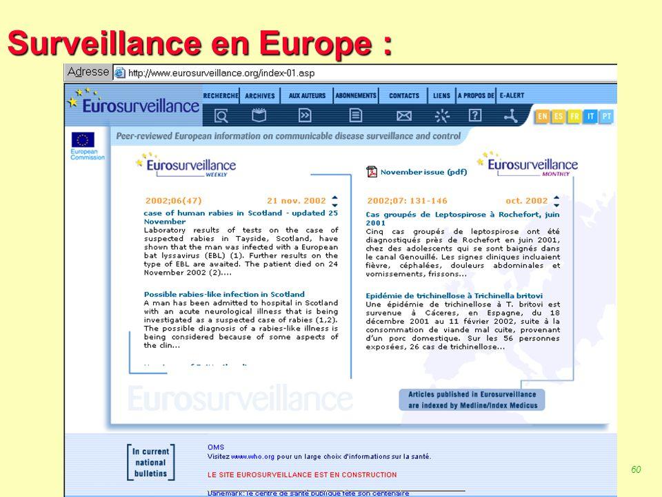 59 Robert J. FREUND Surveillance en santé publique Master Complexes pathogènes tropicaux novembre 2003 Surveillance en Europe : 1/- OMS1 2/- OMS2 3/-