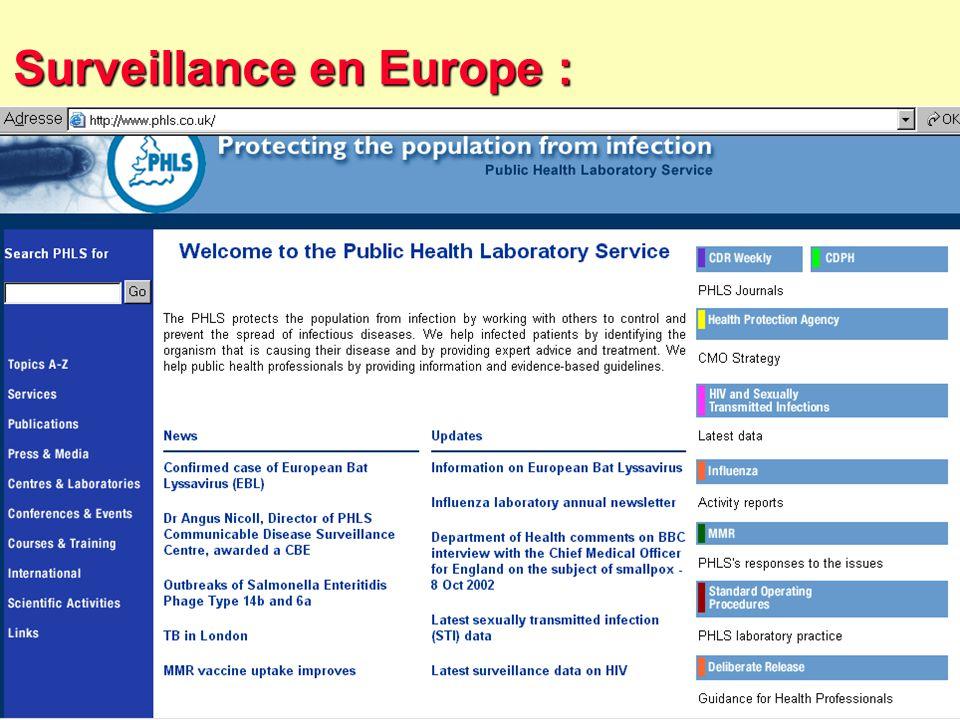 61 Robert J. FREUND Surveillance en santé publique Master Complexes pathogènes tropicaux novembre 2003 Eurosurveillance : 1/- Hebdo 2/- Mensuel Hebdo