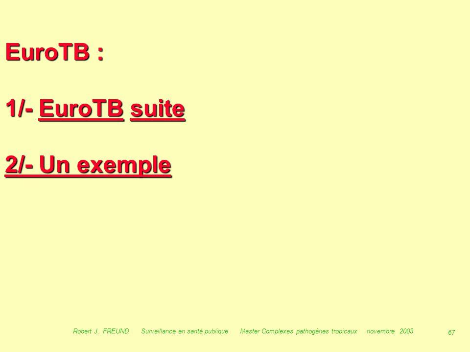 66 Robert J. FREUND Surveillance en santé publique Master Complexes pathogènes tropicaux novembre 2003 Surveillance en Europe :
