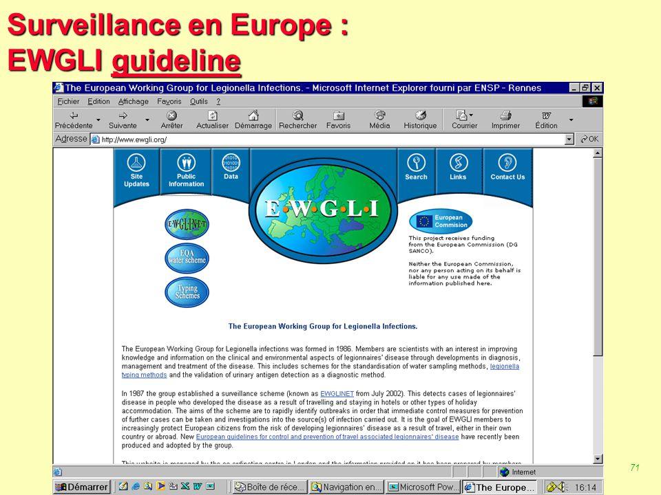 70 Robert J. FREUND Surveillance en santé publique Master Complexes pathogènes tropicaux novembre 2003 Surveillance en Europe : EpiNorth EpiNorth