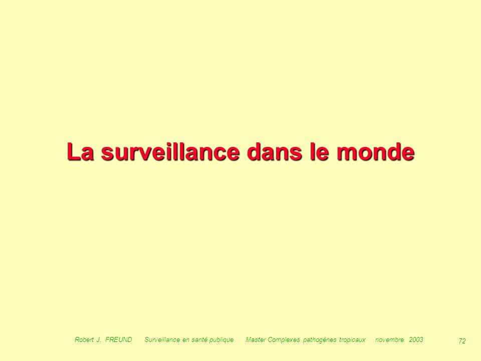 71 Robert J. FREUND Surveillance en santé publique Master Complexes pathogènes tropicaux novembre 2003 Surveillance en Europe : EWGLI guideline guidel